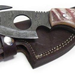 Wild Turkey Handmade Damascus Ram Horn Full Tang Cat Skinner Hunting Knife