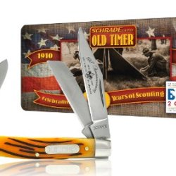Schrade 34Brbsat Old Timer Middleman Pocket Knife, Brown Pick Bone Handle And Boy Scouts Of America 100Th Anniversary Collector'S Tin
