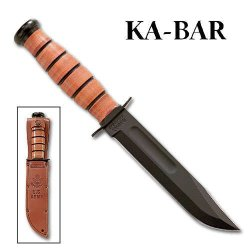 Ka-Bar Knives Us Navy - Straight Edge - Leather Sheath