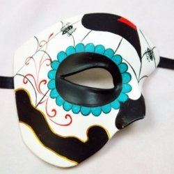 Black White Blue Half Face Mexican Sugar Skull Hand-Painted Paper Mache Mask