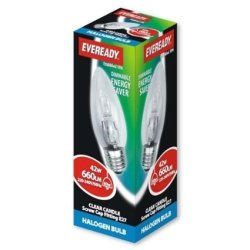 Eve Halogen Candle Lamps Energy Saving 42 Watt 60 Watt Es / E27 Edison Screw