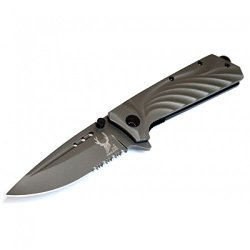 "New 8"" The Bone Edge Collection Grey Folding Spring Assisted Knife Handle With Belt Clip"