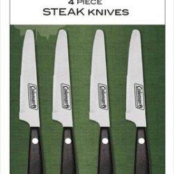 Coleman C04K282 4-Piece Steak Knives Set With Marbled Brown Color Pakkawood Handles