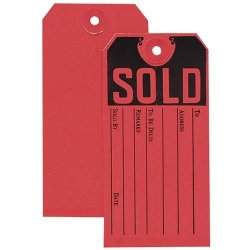 """O Avery Consumer Products O - Sold Tag, 4-3/4""""X2-3/8"""" , Red/Black"""