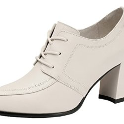 Guciheaven Women Winter New Style Lace Leather Pure Color Rough Heels(6 B(M)Us, White)