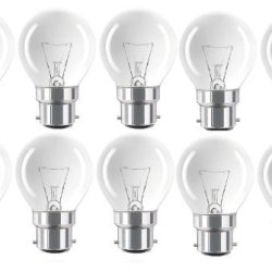 Eveready 10 X 60W Classic P Mini Globes, Bc B22 B22D, Clear Round Light Bulbs, Bayonet Cap, Golf Ball Incandescent Dimmable Lamps, 640-660 Lumen, Mains 240V - [Eu Specification: 220-240V]