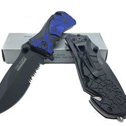 Tac Force Spiderweb Design With Black Half Serrated Stainless Steel Blade - Blue Handle