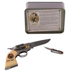 Jesse James Pistol Shaped And Bullet Shaped Pocket Knife Gift Box Set