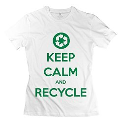 Aopo Keep Calm Recycle Tee Shirts For Lady