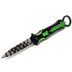 "New 9"" Black And Green Folding Spring Assisted Throwing Knife With Belt Clip"