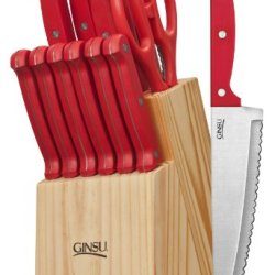 Ginsu 3879 Essential Series 14-Piece Cutlery Set With Natural Block, Red