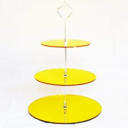 Three Tier Yellow Mirror Circle Cake Stand - Large + Silver Handle