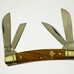 E.C. Simmons Cutlery 4 Blade Zebra Wood Handle Stainless Steel Congress Pocket Knife