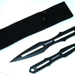 "8.5"" & 6.5"" Black Throwing Knives Sharp With Sheath"
