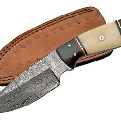 Szco Supplies Dm-1085 Damascus Horn/Bone Handle Skinning Knife, Black