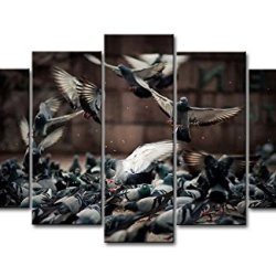 5 Piece Wall Art Painting Pigeons Crowd Pictures Prints On Canvas Animal The Picture Decor Oil For Home Modern Decoration Print For Girls Room