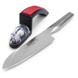 Global G-46 Santoku Knife And Water Sharpener