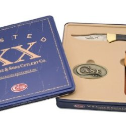 Case Cutlery 00208 Lockback Knife With Stainless Steel Blade Gift Set With Brass Belt Buckle Stainless Steel