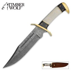 Timber Wolf Damascus Steel Bowie Knife & Leather Sheath