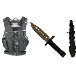 Ultimate Arms Gear Stealth Black Lightweight Edition Tactical Scenario Military-Hunting Assault Vest W/ Right Handed Quick Draw Pistol Holster + Stealth Black Lightweight Cut Stainless Steel M9 M-9 Military Survival Blade Bayonet Knife With Tactical Sheat