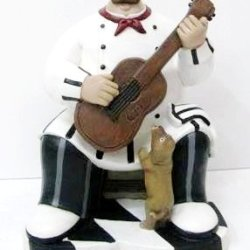 Fat Chef Statue Kitchen Figure Statue Playing Guitar Collectible D64225