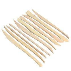 Syyeah 10Pcs Clay Diy Tool Sculpture Wooden Knife Pottery Modeling Tools Kit