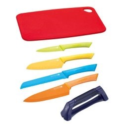 Scanpan Spectrum Coloured Knife Set With Cutting Board And Sharpener 6 Piece