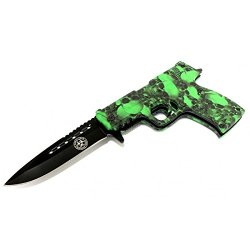 """New 8.5"""" Spring Assisted Folding Zombie Gun Knife Green Skull Handle"""