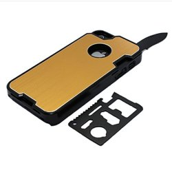 The Bop Wolf !!! Appbox Multifunction Knives Protective Hard Shell Case Mobile Phone Shell Protective Metal Shell For Iphone 5 / 5S -Yellow