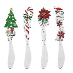 Ganz Christmas Colorful Spreaders - Santa Poinsetta Candy Cane And A Tree Set Of 4