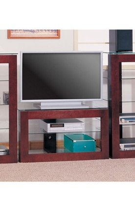 Image of Wall Units Wood TV Stand with Glass Shelves (B0062CHVZW)