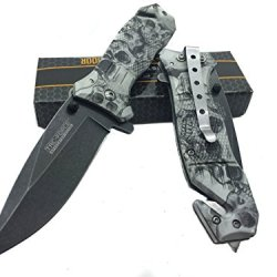 Tac Force Special Skull Design With Black Stainless Steel Blade Knife