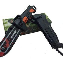 Z - Hunter With Green Splash Logo On Blade Black Stainless Steel Blade Knife - Chainsaw Black/Orange Handle