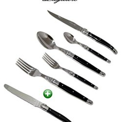 Laguiole Dubost - Complete 48 Pieces Flatware Set For 8 People - Black Color (New 6-Pcs Per Person Place Setting : Includes Exclusive Round Tip Table/Butter Knife - In Heavier 25/10 Stainless Steel) - Original French Dark Colour Full Family Quality Cutler