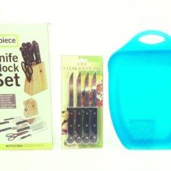 Best Value Kitchen Cutlery Set & Cutting Board Gift Bundle: - 7 Piece Knife Wood Block Set, Scoop Cutting Board, 4 Piece Steak Knife Set