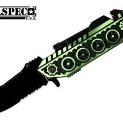 """8"""" Over All Spring Assisted Tank Design Green Color Pocket Knife"""