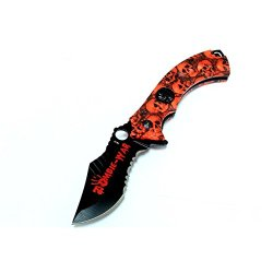 """New 8"""" Red Zombie-War Spring Assisted Knife Skull Head Blade With Belt Clip"""
