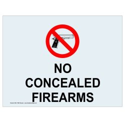 Compliancesigns Clear Vinyl Concealed Carry Label, 7 X 5 In. With Front Adhesive, English