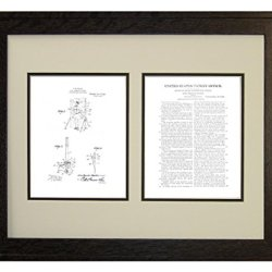 "Moulin Knife-Throwing Illusion Patent Art White Matte Print In A Rustic Oak Wood Frame (16"" X 20"")"