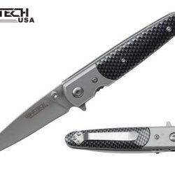 "Wartech 7"" Spring Assisted Open Folding Pocket Knife Carbon Fiber Design Handle"