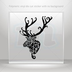 Decal Stickers Tribal Deer Head Decorative Motorbike Bicycle Vehicle A Black (30 X 22.8 In)