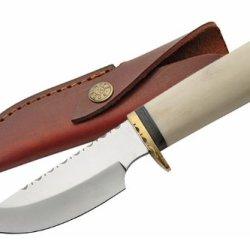 Szco Supplies Bone Handle Skinning Knife With Filework