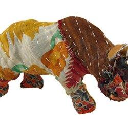Vintage Sari Fabric Decorated Paper Mache Rhino Sculpture 3 In.
