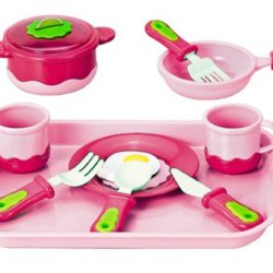 Pink Kitchen Pretend And Play Cookware Playset For Kids (12 Pieces)