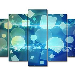 Blue 5 Piece Wall Art Painting Shapes Prints On Canvas The Picture Abstract Pictures Oil For Home Modern Decoration Print Decor For Bedroom