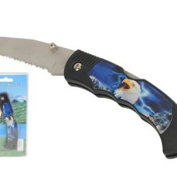 "Wild Animals Ramboo Hunting Knife Series - 3"" Blade ""Skyblue Eagle Theme"" Pocket Knife With Clip"