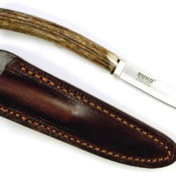 Ruko 3-Inch Blade Bird And Trout Knife With Genuine Deer Horn Handle And Leather Sheath