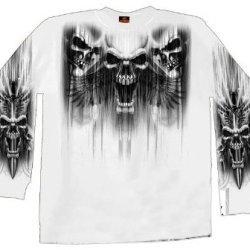 Hot Leathers Skull Dagger Double Sided Long Sleeve T-Shirt (White, X-Large)