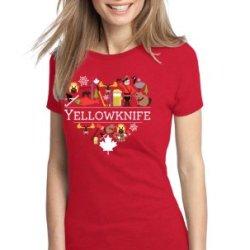 I Love Yellowknife, Canada Ladies' T-Shirt-Medium