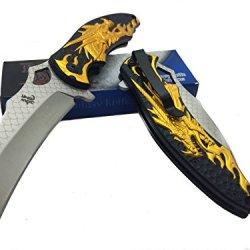 Dark Side Blades Gold Dragon Spring Assisted Fantasy Knife